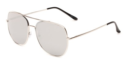 Angle of Slay #8803 in Silver Frame with Silver Mirrored Lenses, Women's and Men's Aviator Sunglasses