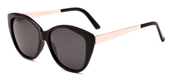 Angle of Soprano #2876 in Black/Gold Frame with Grey Lenses, Women's Cat Eye Sunglasses