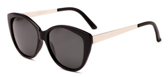Angle of Soprano #2876 in Black/Silver Frame with Grey Lenses, Women's Cat Eye Sunglasses