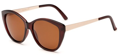 Angle of Soprano #2876 in Brown/Gold Frame with Amber Lenses, Women's Cat Eye Sunglasses