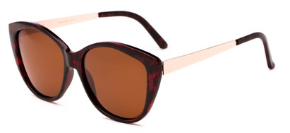 Angle of Soprano #2876 in Red Tortoise/Gold Frame with Amber Lenses, Women's Cat Eye Sunglasses