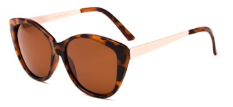 Angle of Soprano #2876 in Tortoise/Gold Frame with Amber Lenses, Women's Cat Eye Sunglasses