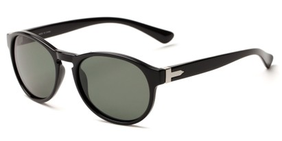 Angle of Sparrow #1886 in Black Frame with Green Lenses, Women's and Men's Round Sunglasses