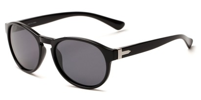 Angle of Sparrow #1886 in Black Frame with Smoke Lenses, Women's and Men's Round Sunglasses