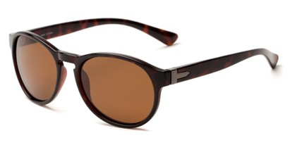 Angle of Sparrow #1886 in Tortoise Frame with Amber Lenses, Women's and Men's Round Sunglasses