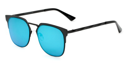 Angle of Striker #4300 in Matte Black Frame with Blue Mirrored Lenses, Women's and Men's Browline Sunglasses
