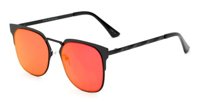 Angle of Striker #4300 in Matte Black Frame with Red Mirrored Lenses, Women's and Men's Browline Sunglasses