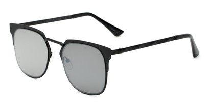 Angle of Striker #4300 in Matte Black Frame with Silver Mirrored Lenses, Women's and Men's Browline Sunglasses