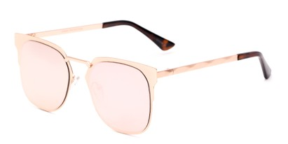 Angle of Striker #4300 in Matte Rose Gold Frame with Pink Mirrored Lenses, Women's and Men's Browline Sunglasses