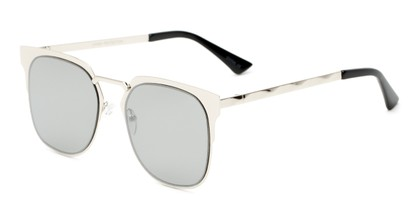 Angle of Striker #4300 in Glossy Silver Frame with Silver Mirrored Lenses, Women's and Men's Browline Sunglasses