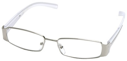 Angle of SW Clear Style #2903 in Silver and White Frame, Women's and Men's