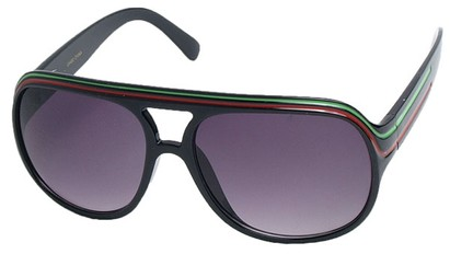 Angle of SW Rasta Style #1964 in Black Frame with Green/Red Stripes, Women's and Men's