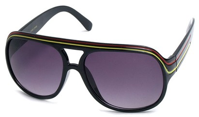 Angle of SW Rasta Style #1964 in Black Frame with Red/Yellow Stripes, Women's and Men's
