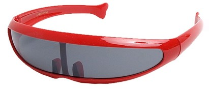 Angle of SW Funky Retro Style #8848 in Red Frame, Women's and Men's