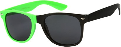 Angle of SW Two-Tone Retro Style #1892 in Neon Green/Black Frame, Women's and Men's