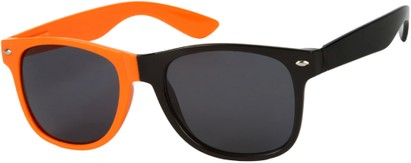 Angle of SW Two-Tone Retro Style #1892 in Neon Orange/Black Frame, Women's and Men's