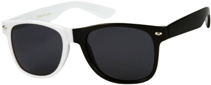 Angle of SW Two-Tone Retro Style #1892 in White/Black Frame, Women's and Men's