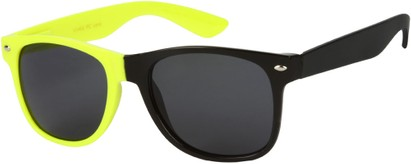 Angle of SW Two-Tone Retro Style #1892 in Neon Yellow/Black Frame, Women's and Men's
