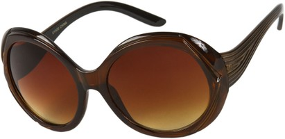 Angle of SW Round Style #3498 in Brown Frame with Amber Lenses, Women's and Men's