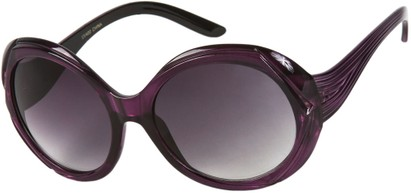Angle of SW Round Style #3498 in Purple Frame with Smoke Lenses, Women's and Men's