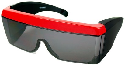 Angle of SW Celebrity Shield Style #813 in Red Frame, Women's and Men's