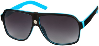 Angle of SW Oversized Aviator Style #188 in Blue/Black Frame, Women's and Men's