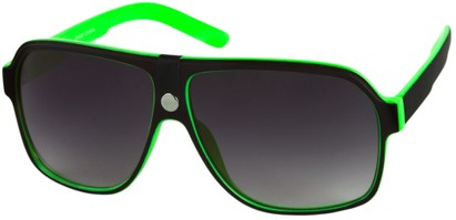 Angle of SW Oversized Aviator Style #188 in Green/Black Frame, Women's and Men's