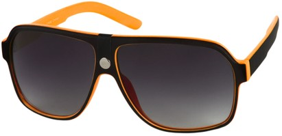 Angle of SW Oversized Aviator Style #188 in Orange/Black Frame, Women's and Men's