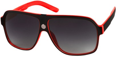 Angle of SW Oversized Aviator Style #188 in Red/Black Frame, Women's and Men's