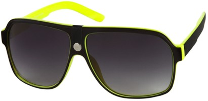 Angle of SW Oversized Aviator Style #188 in Yellow/Black Frame, Women's and Men's