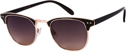 Angle of Fenway #1275 in Black/Gold Frame, Women's and Men's Browline Sunglasses