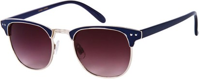 Angle of Fenway #1275 in Navy Blue/Silver Frame, Women's and Men's Browline Sunglasses