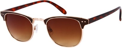 Angle of Fenway #1275 in Brown/Gold Frame, Women's and Men's Browline Sunglasses