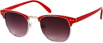 Angle of Fenway #1275 in Red/Silver Frame, Women's and Men's Browline Sunglasses