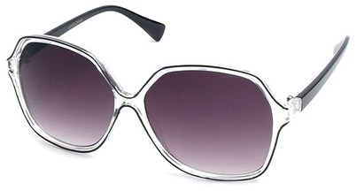 Angle of SW Oversized Style #9809 in Black and Clear Frame, Women's and Men's