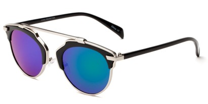 Angle of Tonto #9502 in Black/Silver Frame with Blue/Green Lenses, Women's and Men's Round Sunglasses