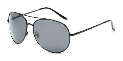 Angle of Trooper #1219 in Black Frame with Grey Lenses, Women's and Men's Aviator Sunglasses