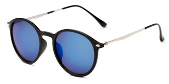 Angle of Arlo #3891 in Black/Silver Frame with Blue Mirrored Lenses, Women's and Men's Round Sunglasses