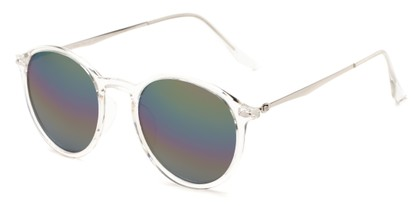 Angle of Arlo #3891 in Clear/Silver Frame with Rainbow Mirrored Lenses, Women's and Men's Round Sunglasses