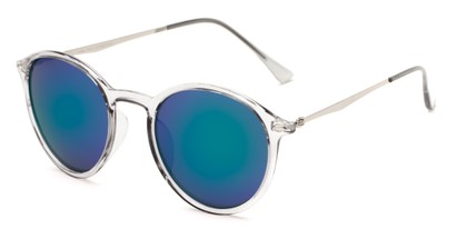 Angle of Arlo #3891 in Clear/Grey Frame with Green/Purple Mirrored Lenses, Women's and Men's Round Sunglasses