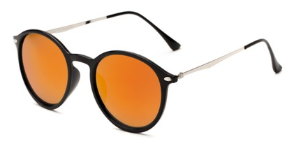 Angle of Arlo #3891 in Black/Silver Frame with Orange Mirrored Lenses, Women's and Men's Round Sunglasses