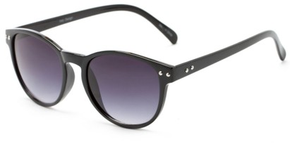 Angle of Darby #1029 in Black Frame with Smoke Lenses, Women's and Men's Retro Square Sunglasses