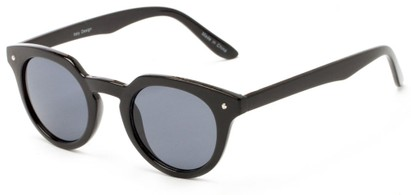 Angle of Sutter #1030 in Black Frame with Grey Lenses, Women's Round Sunglasses