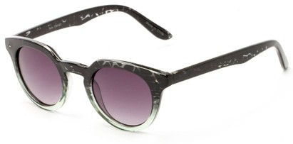 Angle of Sutter #1030 in Black/Green Tortoise Fade Frame with Smoke Lenses, Women's Round Sunglasses