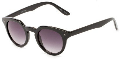 Angle of Sutter #1030 in Black Frame with Smoke Lenses, Women's Round Sunglasses