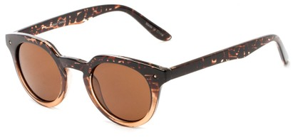 Angle of Sutter #1030 in Brown Leopard Fade Frame with Brown Lenses, Women's Round Sunglasses