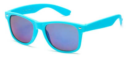 Angle of SW Retro Style #925 in Sky Blue Frame with Mirrored Lenses, Women's and Men's