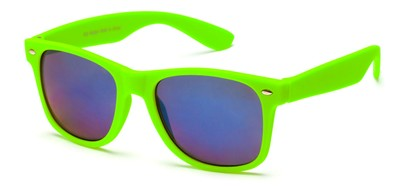 Angle of SW Retro Style #925 in Lime Green Frame with Mirrored Lenses, Women's and Men's