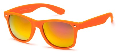 Angle of SW Retro Style #925 in Orange Frame with Mirrored Lenses, Women's and Men's