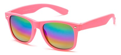 Angle of SW Retro Style #925 in Pink Frame with Mirrored Lenses, Women's and Men's